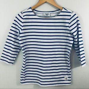 Size XS HIHO blue striped 3/4 sleeve shirt